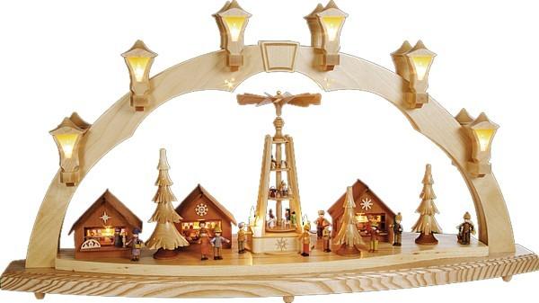 Schwibbogen Weihnachtsmarkt mit Pyramide