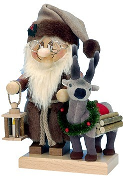 R�ucherm�nnchen Wichtel Weihnachtsmann mit Rentier