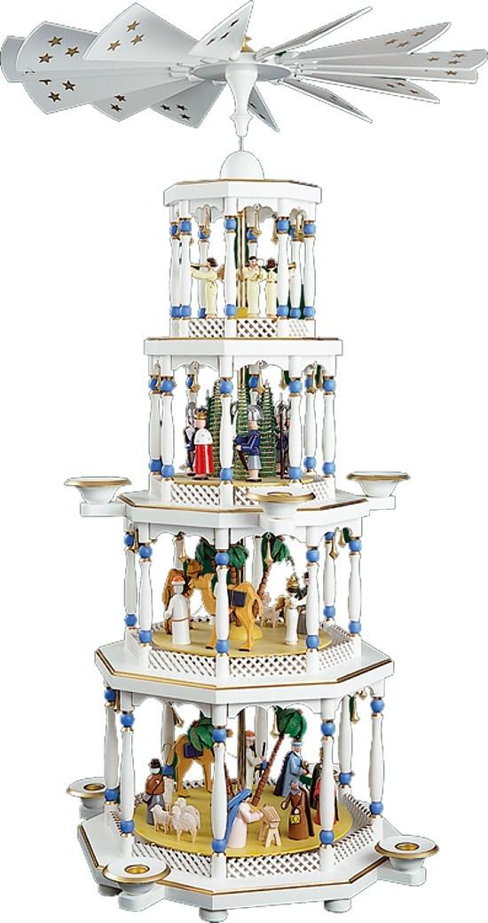 Weihnachtspyramide Christi Geburt 4stöckig weiß