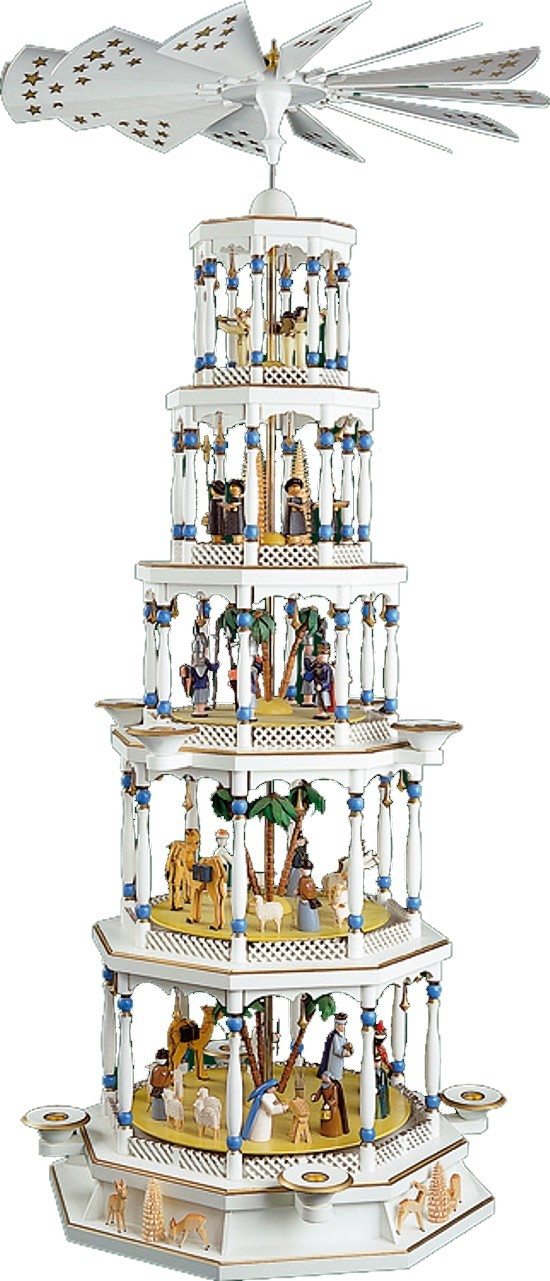 Weihnachtspyramide Christi Geburt 5st�ckig mit Spielwerk wei�