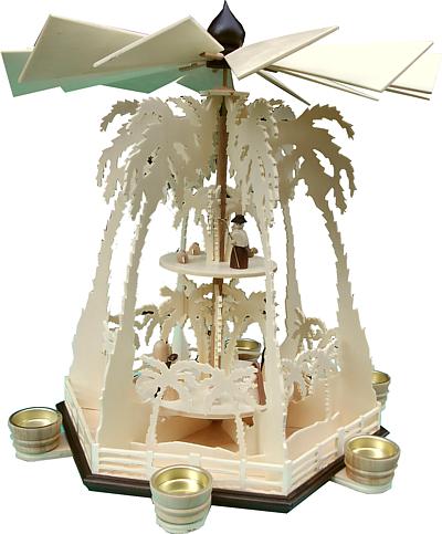 Weihnachtspyramide 2-stufig �Palmen� Teelicht