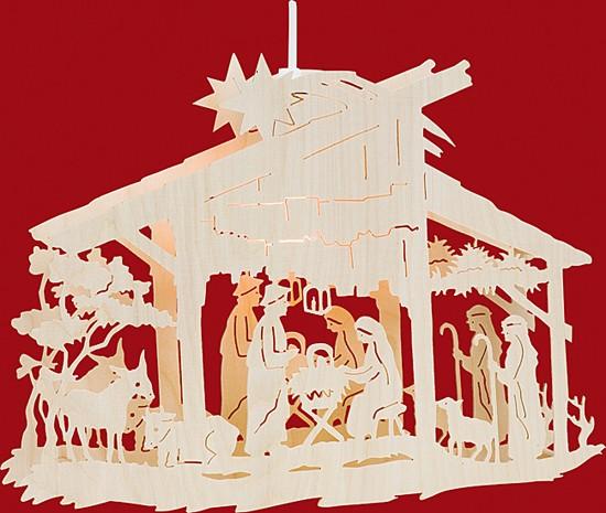 Beleuchtetes Fensterbild Christgeburt im Stall