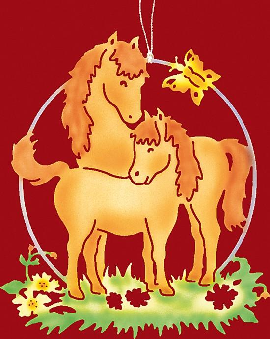 Fensterbild farbig Pferde