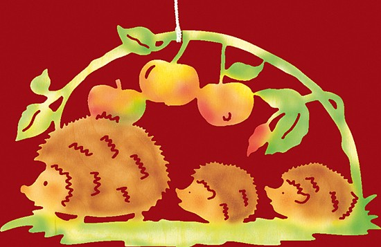 Fensterbild farbig Igelfamilie