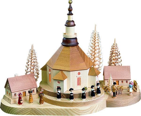 Weihnachtsberg Seiffener Kirche, beleuchtet