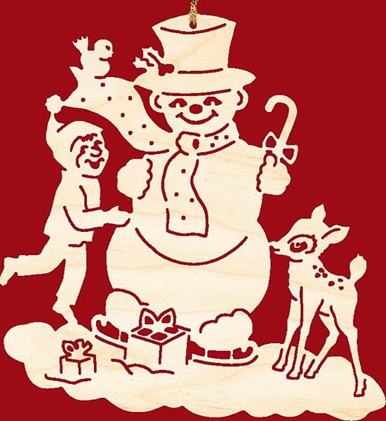 Fensterbild Weihnachten Schneemann mit Kind und Kitz