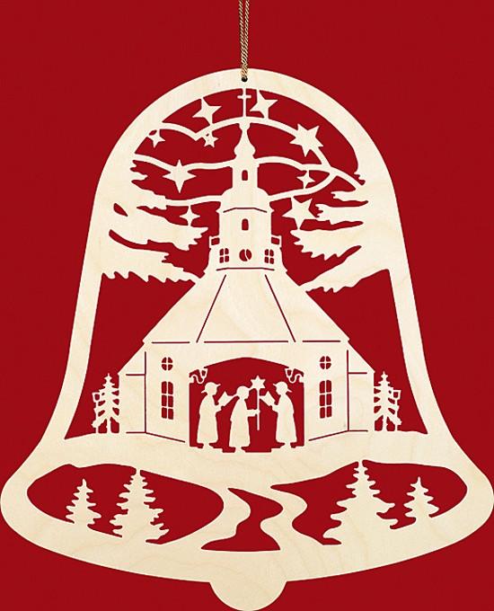 Fensterbild Weihnachten Seiffener Kirche in der Glocke