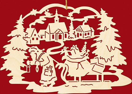 Fensterbild Weihnachten Weihnachtsmann mit Schlitten / Dorf