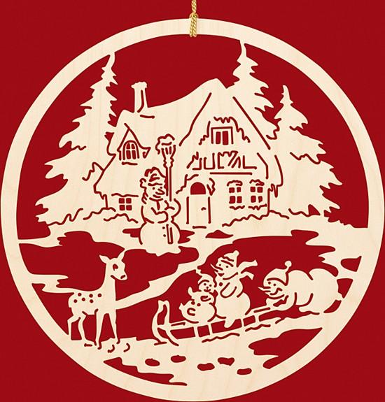 fensterbild weihnachten fam schneemann beim rodeln