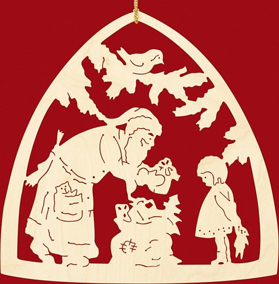 Fensterbild Weihnachten, Bescherung