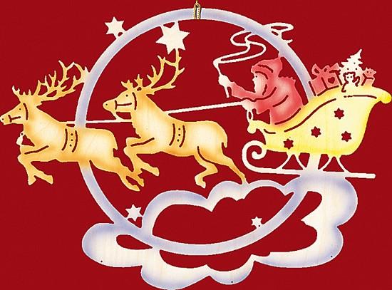 Fensterbild farbig Weihnachten Weihnachtsmann mit Rentierschlitten