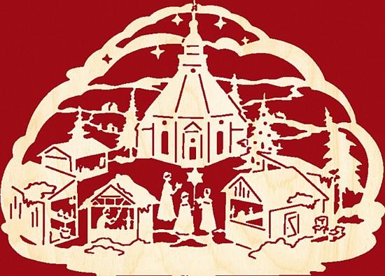 Fensterbild / Wandbild,  Seiffener Weihnachtsmarkt