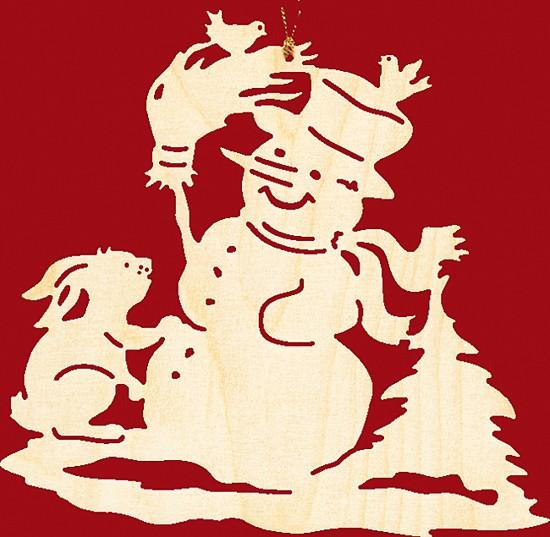 Fensterbild / Wandbild, Weihnachten Schneemann mit Hase