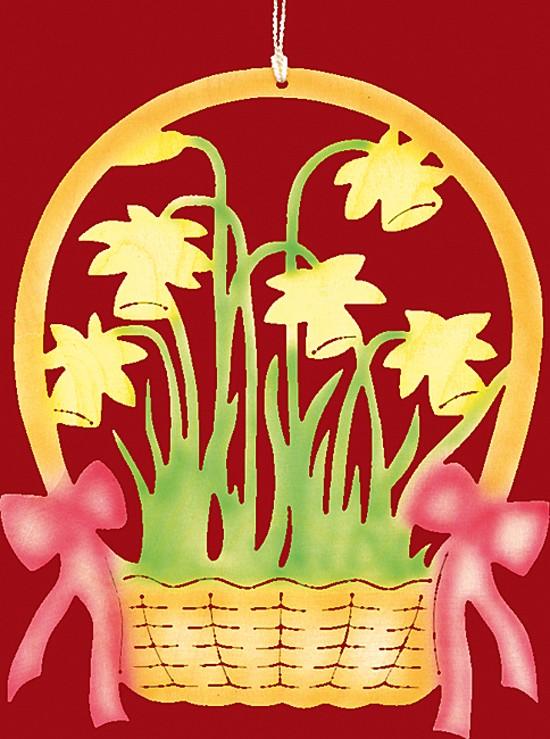 Fensterbild Farbig Ostern Narzissenkorb