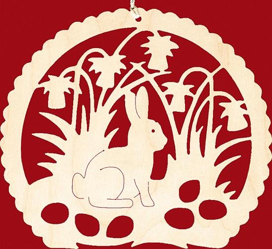 Fensterbild Ostern H�schen im Narzissenbeet