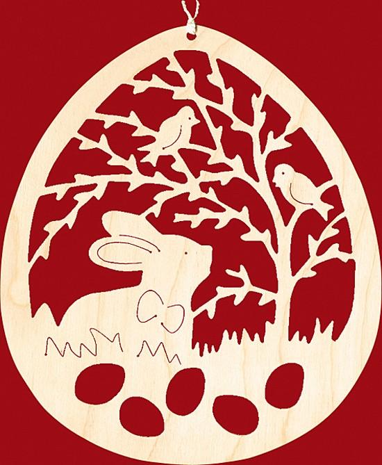 Fensterbild Ostern Hase unter Weidenzweig