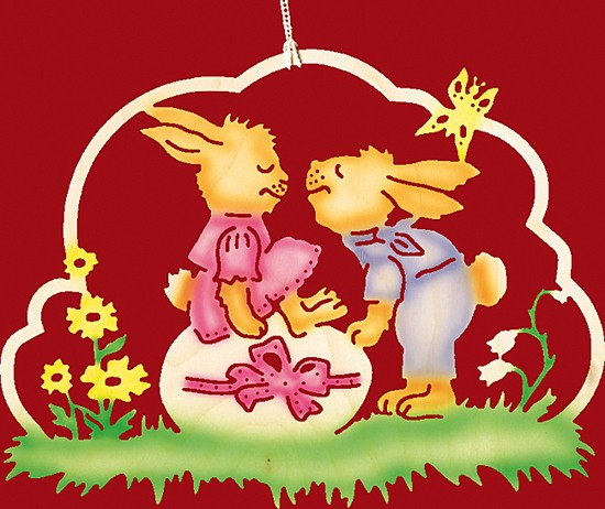 Fensterbild Farbig Ostern Hasenliebespaar