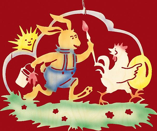 Fensterbild Ostern farbig Hase f�ngt Eierdieb