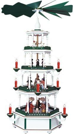 WeihnachtsPyramide wei�-gr�n 4st�ckig elektrisch
