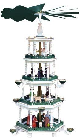 Weihnachtspyramide wei�-gr�n 4st�ckig