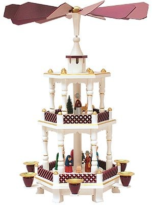 Weihnachtspyramide Geburt weiss/bordeauxe-farben 2st�ckig
