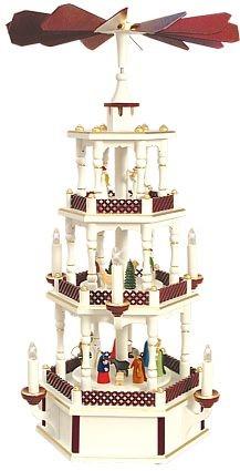 WeihnachtsPyramide Geburt und Engel weiss/bordeaux 3stöckig elektrisch