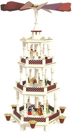 Weihnachtspyramide Geburt weiß/bordeaux-farben 3stöckig