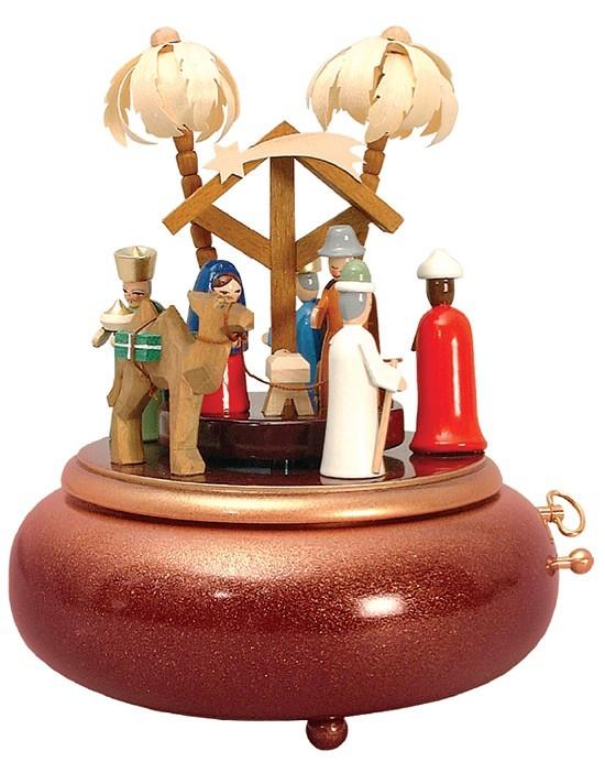 Spieldose Christi Geburt, farbig (28er Spielwerk)