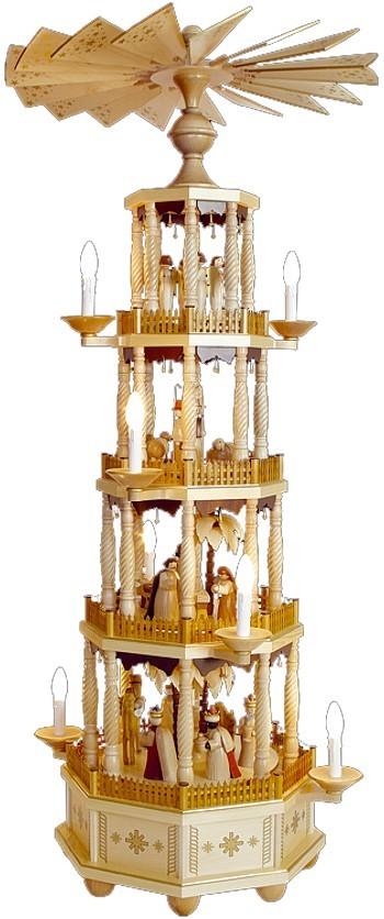Große Weihnachtspyramide mit gedrechselten Säulen