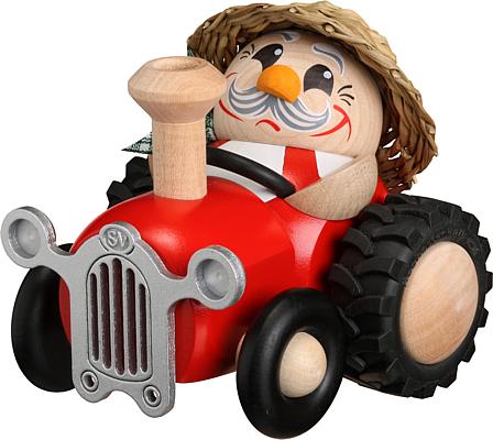 Kugelräucherfigur Bauer im Traktor