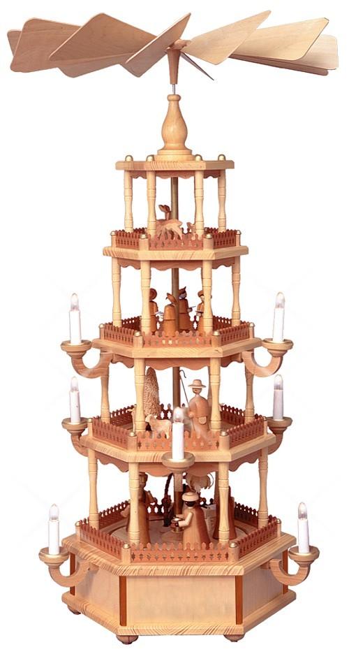 WeihnachtsPyramide Natur 4st�ckig elektrisch