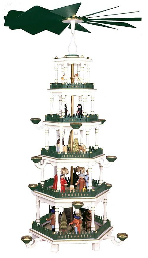 Weihnachtspyramide wei�-gr�n 5st�ckig