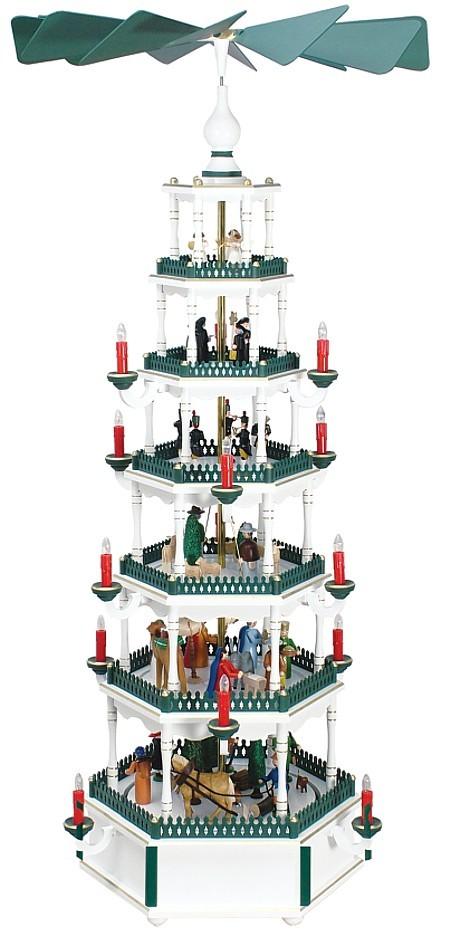 Riesen-Weihnachtspyramide wei�-gr�n 6st�ckig elektrisch