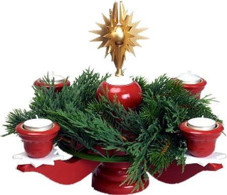 Adventsleuchter groß - rot- mit Stern