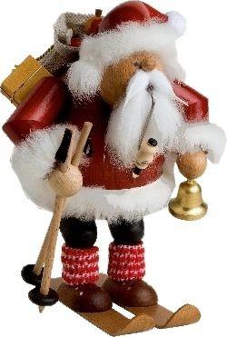 R�ucherm�nnchen Weihnachtsmann auf Skier
