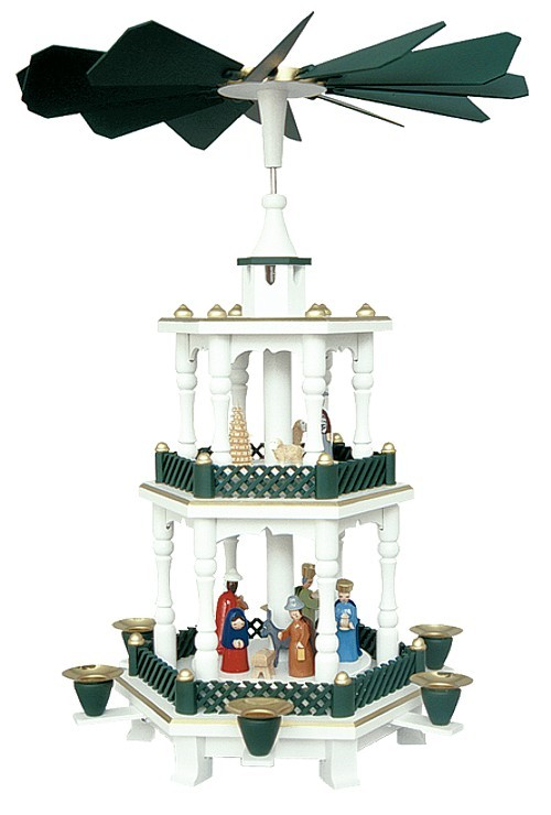 Weihnachtspyramide Geburt weiß-grün 2stöckig