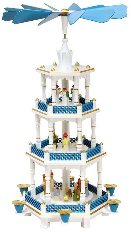 Weihnachtspyramide Geburt und Engel,  pastell-blau-wei�