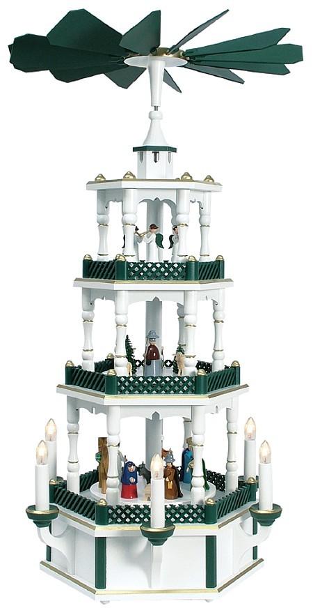 Pyramide Christi Geburt mit Engel weiß-grün elektrisch