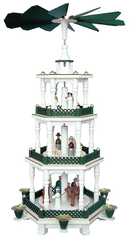 Weihnachtspyramide Geburt und Engel weiß-grün 3stöckig