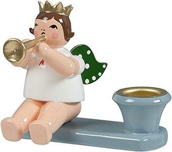 Kerzenhalter - Engelmusikant sitzend mit Trompete