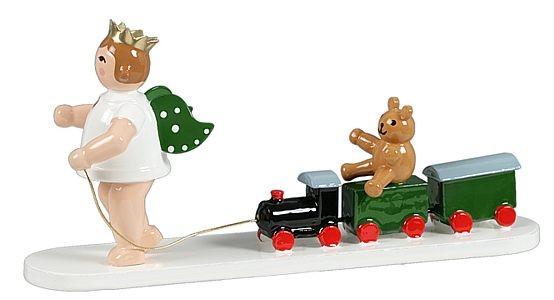 Engel mit Eisenbahn und Bär