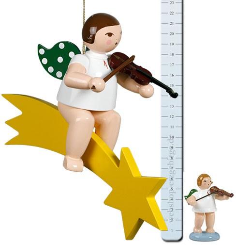 großer Engel auf Schweif mit Geige - 22 cm -