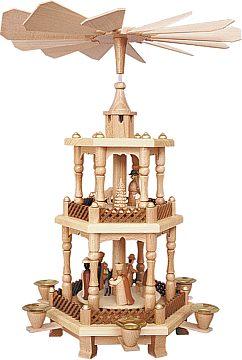 Weihnachtspyramide Geburt/Natur 2stöckig