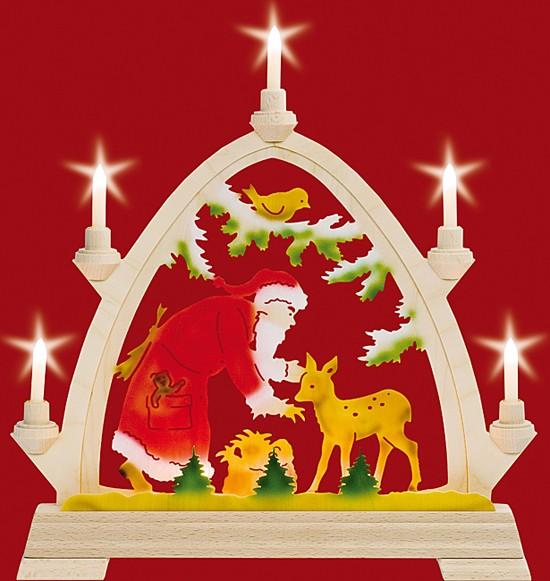 Kleine gotische elektr. Bögen Weihnachtsmann mit Reh - farbig