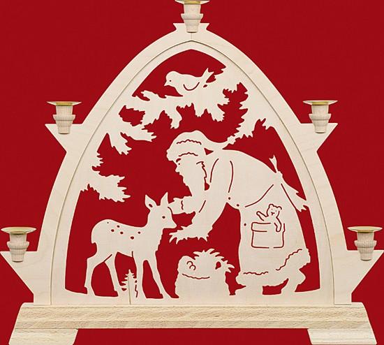 Kleine gotische B�gen f�r Wachskerzen Weihnachtsmann mit Reh
