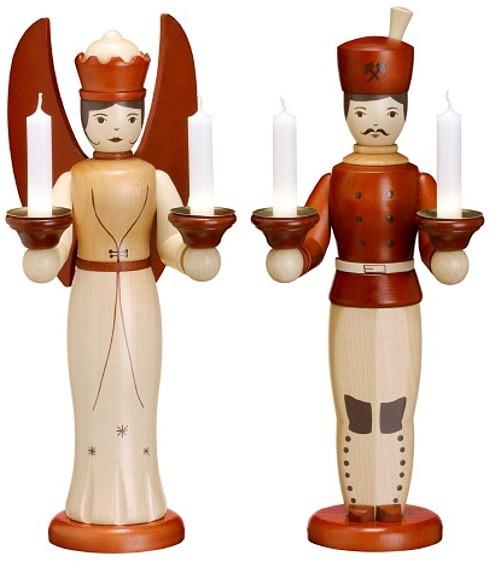 Engel und Bergmann für Kerzen Natur