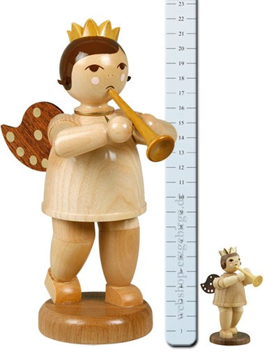 großer Engel mit Trompete, natur - 22 cm -