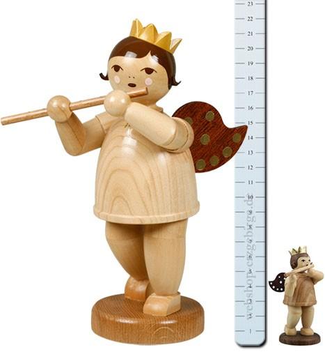 großer Engel mit Querflöte, natur - 22 cm -