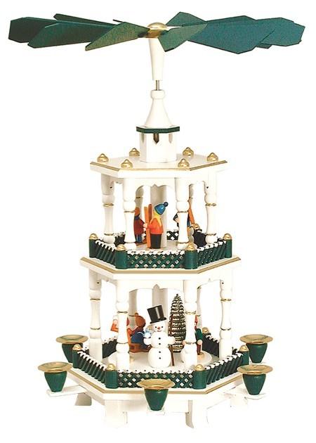 Weihnachtspyramide Winterkinder wei�-gr�n