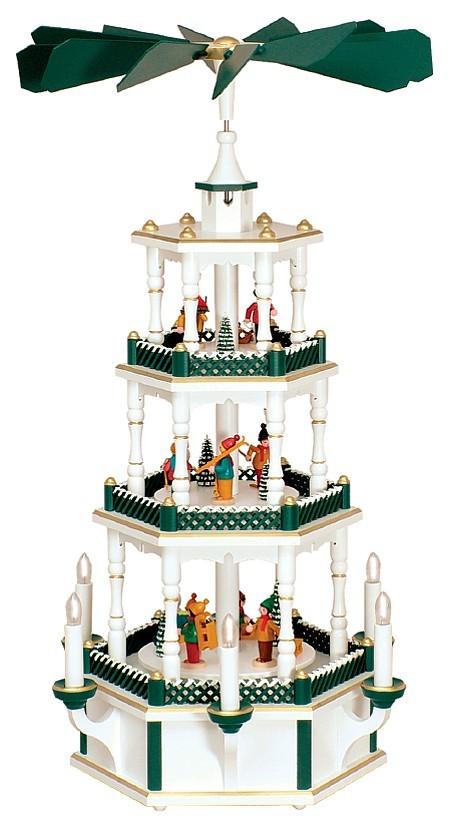 WeihnachtsPyramide Winterkinder weiß-grün elektrisch
